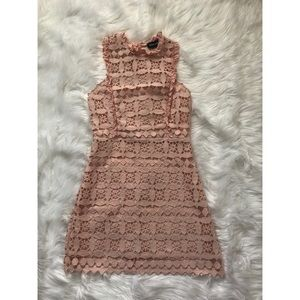 Pink Ruffle High Neck Dress